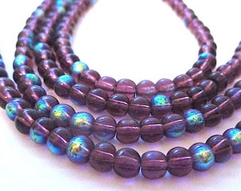 Small Purple Beads, 4mm Beads, Amethyst Color Glass Beads, Tiny Round Beads, Fire Polished AB Aurora Borealis Ultra Violet 38 Pieces SP530