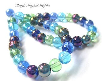 Rainbow Beads, 6mm Beads, Glass Beads, Round Beads, Blue Green Aqua Purple Luster Iridescent Tropical Beach Summer Colors - 23 Pieces SP746