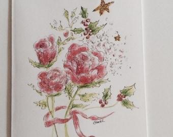 Rose medley Christmas greeting card