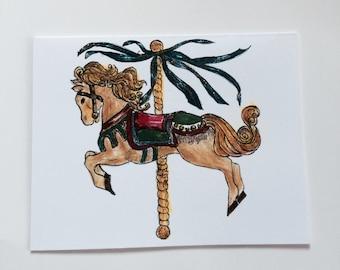 Holiday Carousel Christmas greeting card