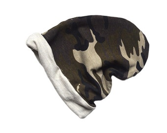 Reversible Camo Slouchy Beanie, Slouchy Hat, Slouch Beanie, Baby Slouchy Beanie, Hipster Baby Clothes, Hipster Clothing, Baby Boy Clothes