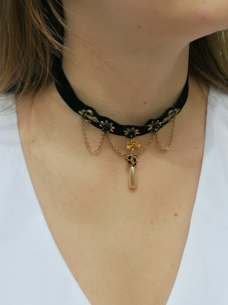 Baroque black and gold chained choker Victorian choker with pearl teardrop