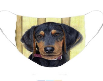 Beagle/Dachshund Puppy Mask - Cloth Mask, Elastic Mask, Mask with Artwork