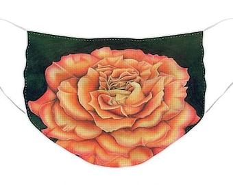 Orange Rose Mask - Cloth Mask, Elastic Mask, Mask with Artwork