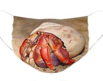 Hermit Crab Mask - Cloth Mask, Elastic Mask, Mask with Artwork