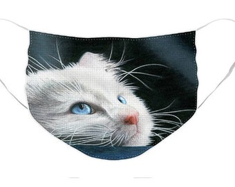 White Kitten Mask - Cloth Mask, Elastic Mask, Mask with Artwork