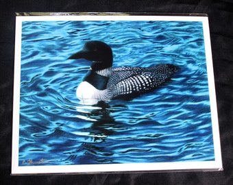 Loon Colored Pencil Drawing - PRINT
