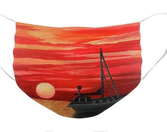 Red Sunset Mask - Cloth Mask, Elastic Mask, Mask with Artwork