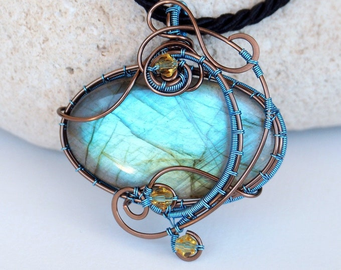 Featured listing image: Wire wrapped pendant Labradorite necklace Anniversary gift for women wire woven Bohemian style artistic handmade jewelry ooak something blue