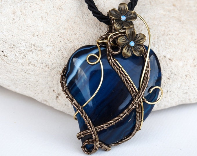 Featured listing image: Wire wrapped heart pendant necklace blue gemstone love gift for women nature handmade jewelry flowers floral bohemian style anniversary gift