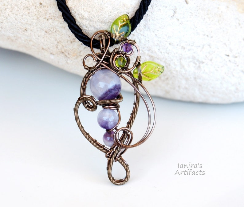 Amethyst wire wrapped pendant~Spring Nature inspired jewelry~Leafy Purple gemstone Birthstone Anniversary gift for women Cool gifts