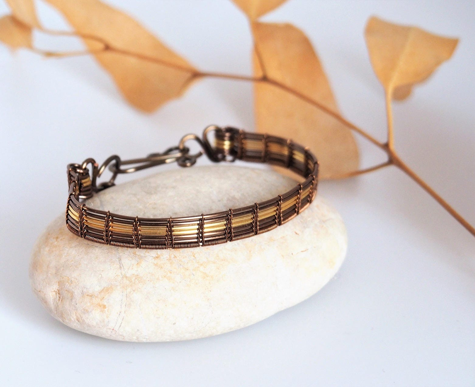 Wire wrapped cuff bracelet Simple Bangle bracelets for
