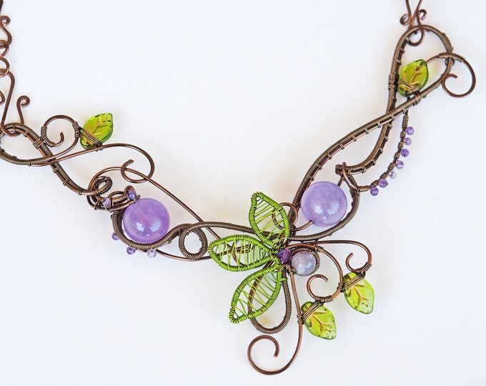 Featured listing image: Amethyst twig necklace wire wrapped leafy nature jewelry bib stastement wedding bridal unique gifts for women wife mother her handmade