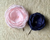 Navy and pale pink flowers bridal headpiece, bridesmaid hair clip pin grip, handmade fabric flower sew on dress sash ornament, Set of 2