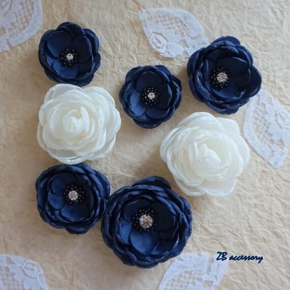 haut de gamme authentique vaste gamme de nouveau style de vie Pinces à cheveux bleu marine fleur pince, Ivoire rose ...