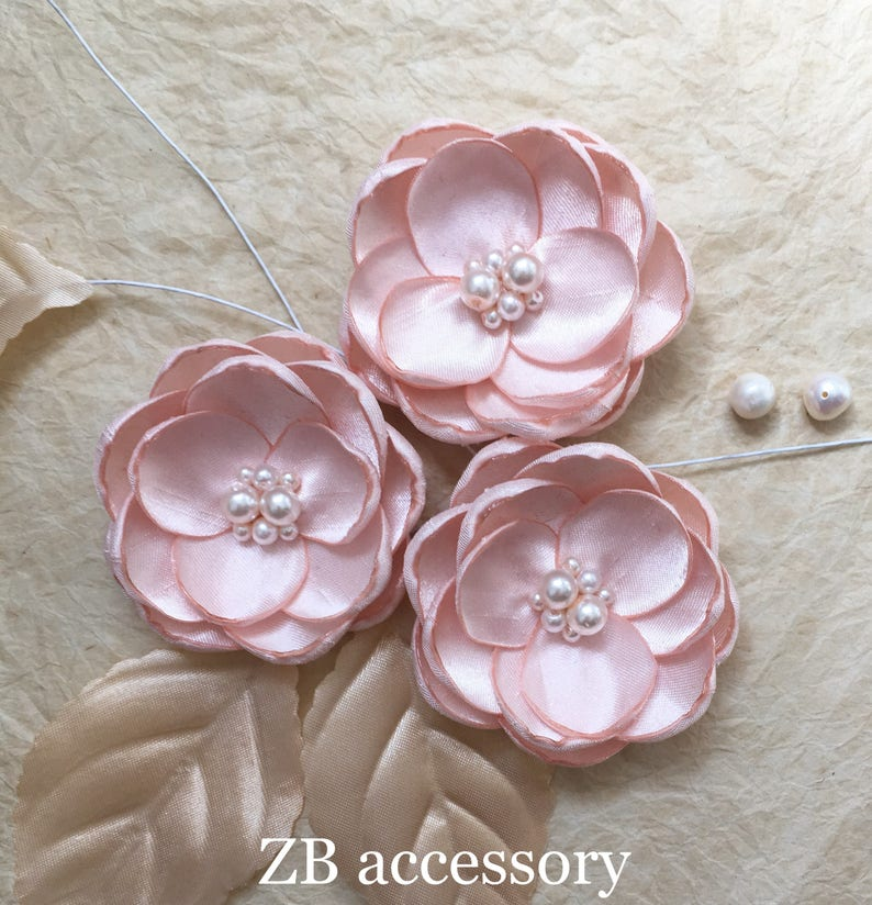 pale pink flower Blush silk flower hair accessory blush shoe clips bridal hair pins dress sash brooch sew in ornament bridal hair clip