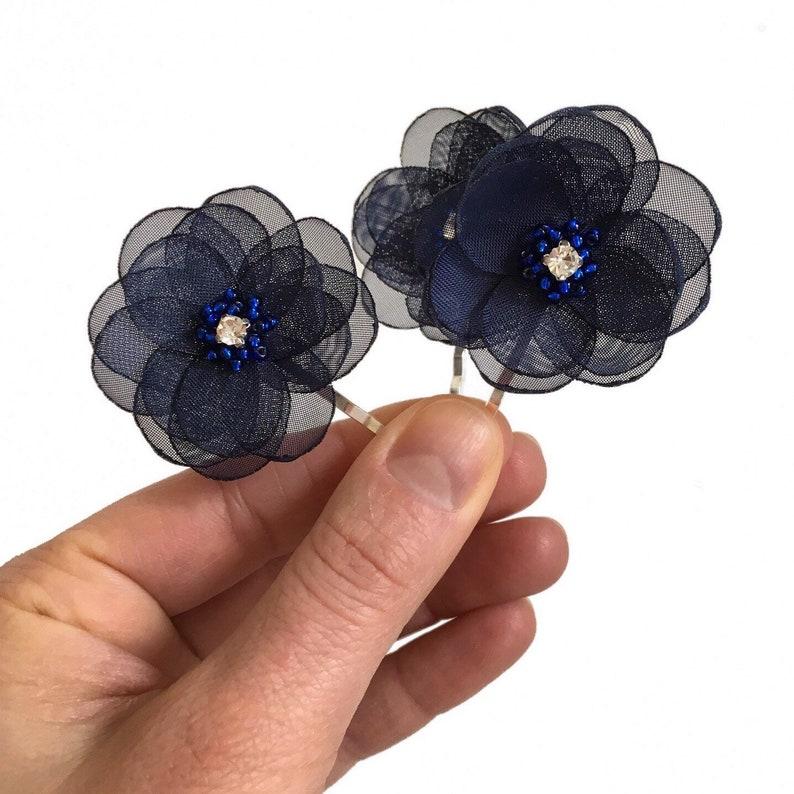 diamante hair pins Navy hair pin sew on flowers navy hair flower bridesmaid hair pins hair accessories wedding small hair flowers