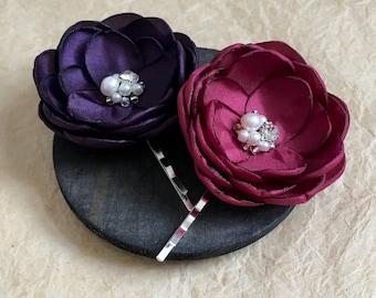 Burgundy purple hair flower clip, bridesmaid hair bobby pins sew on ornament shoe clips, bridal dress sash brooch flowers, alligator clips