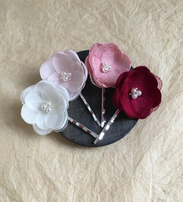 Dusky Pink Fabric Flowers Hair Clip Bridesmaid Accessories Bridal