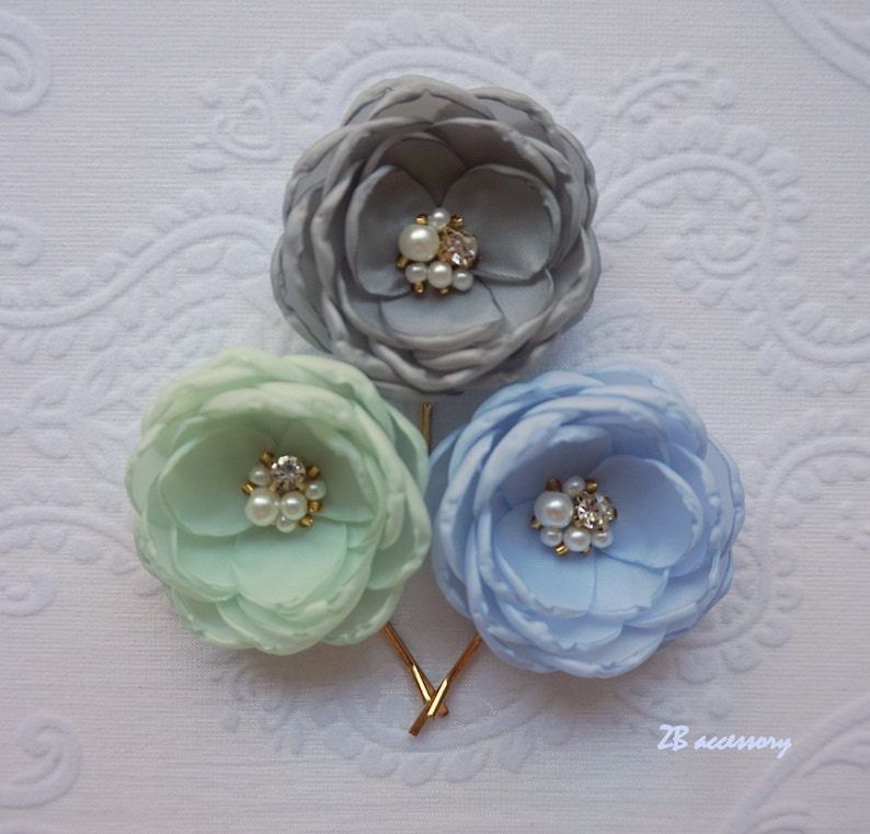 sew on ornaments gold finish Fabric flowers grey mint baby blue bridal hair clip pale lavender hair pins bridesmaid accessories Wedding