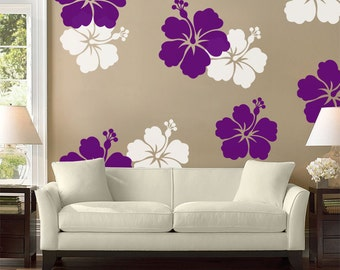 Hibiscus Flower Wall Decal Large Wall Flower Hawaiian Decal Hibiscus Flower Sticker Living Room Decor Hibiscus Decal Vinyl Decal 660 & Hibiscus wall decal | Etsy