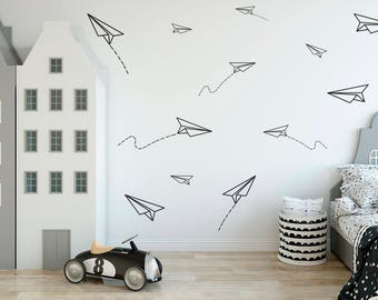 paper airplanes vinyl wall decals boys room decor paper etsy rh etsy com kids room decorating ideas kids room decals for walls