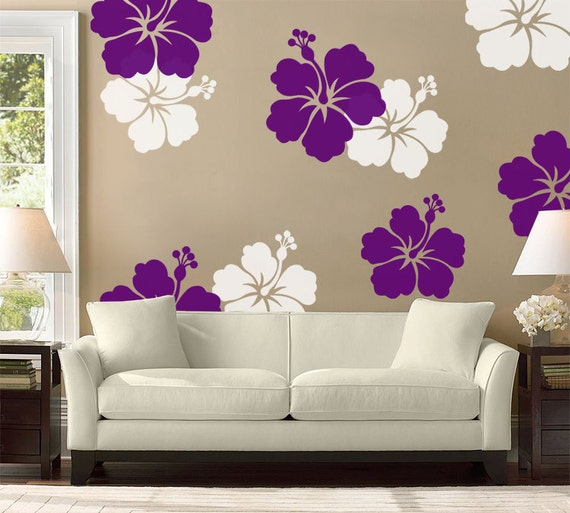 hibiscus flower wall decal large wall flower hawaiian | etsy