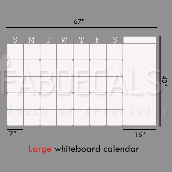 Large Whiteboard Wall Calendar Vinyl Wall Decal Dry Erase Etsy