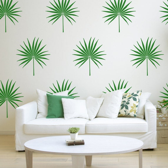 Palm Leaf Wall Decal Tropical Leaf Decal Bedroom Decor Palm Etsy - Beautiful-wall-stickers-to-decorate-your-house