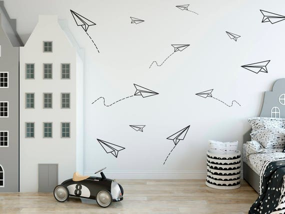 Paper Planes, Wall Decal, Boys Room Wall Decor,Paper Plane Sticker, Boys  Room Decals, Paper Airplane, Kids Room Stickers, Nursery Decal, 653