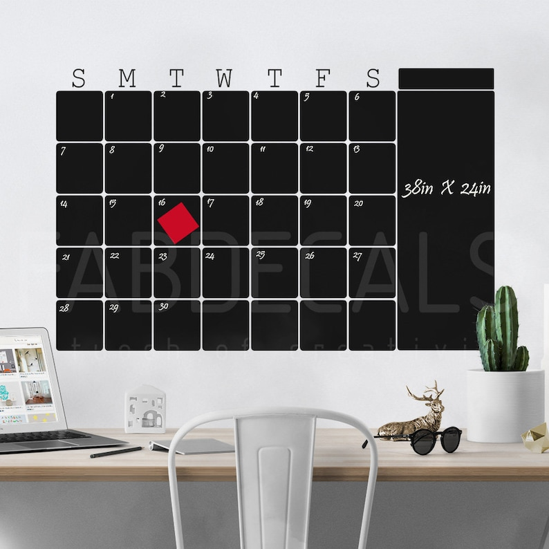 monthly chalkboard calendar decal blackboard wall sticker | etsy