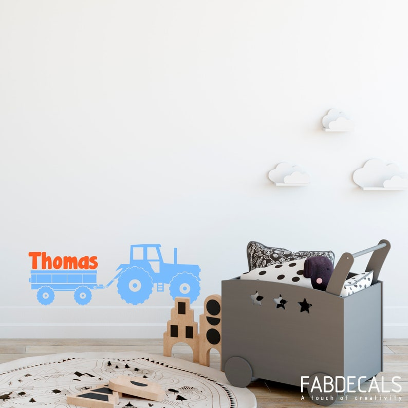 Boys Name Wall Decal Tractor With Cart Wall Decal Boys Room Decor Personalized Boy Name ID40 Inspiration Tractor Themed Bedroom Minimalist