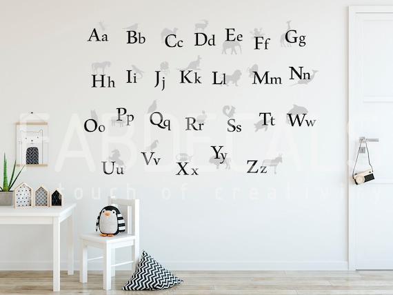 Abc Wall Decal Kids Room Decor Back To School Alphabet Sticker Animal Alphabet Alphabet Letters Play Room Decor A Z Wall Decal Id264
