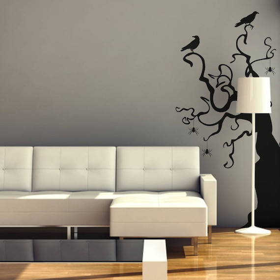 black tree wall decal halloween tree spiders crows | etsy