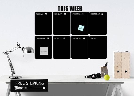 Weekly Chalkboard Calendar Wall Decal Wall Calendar 2017   Etsy