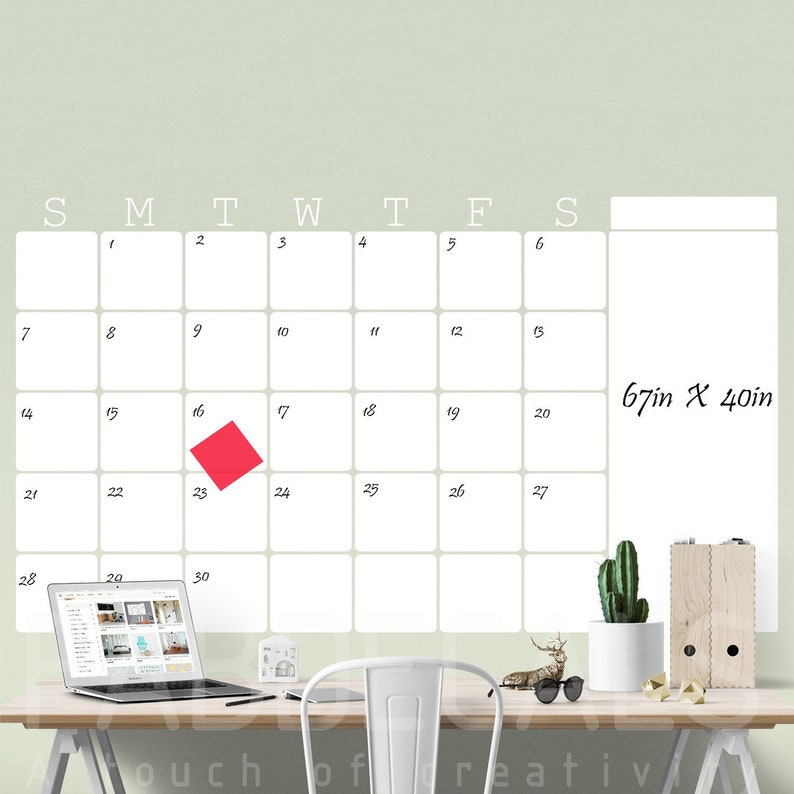 Large Monthly Dry Erase Wall Calendar Whiteboard Calendar Etsy