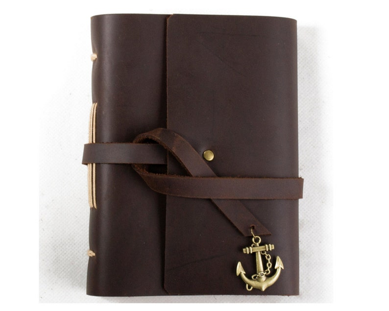 Unique Leather Journal Diary with Vintage Anchor A6 Blank image 0