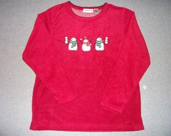 Snowmen Fleece Long Sleeve Red Sweatshirt Snowman Ugly Christmas Sweater Party Tacky Gaudy X-Mas Winter Warm M Medium