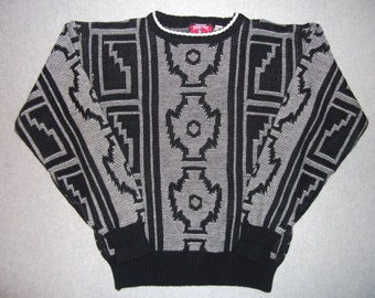 Aztec Tribal Hipster Cool Amazing Sweater Black Grey Tacky Gaudy Ugly Christmas Sweater Party X-Mas Winter Warm M Medium