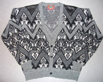Amazing Vintage 80s 90s Leather Sweater Hipster Geometric Abstract Cosby Show 1980s Tacky Gaudy Ugly Christmas Sweater Party X-Mas L: Large