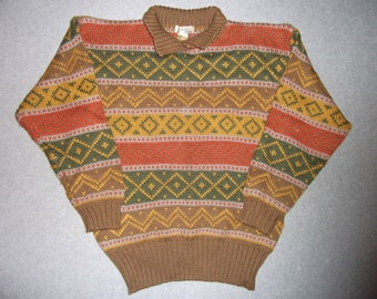 Vintage 80s 90s Aztec Hipster Nordic Earthtone Sweater Striped Stripes Tacky Gaudy Ugly Christmas Sweater Party Winter Warm M Medium