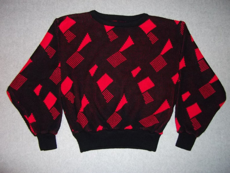 Abstract 1980s 1990s Squares Triangles Red Black Hipster 80s 90s Sweater Rock Star Winter Ugly Christmas Party Tacky Gaudy X-Mas S Small
