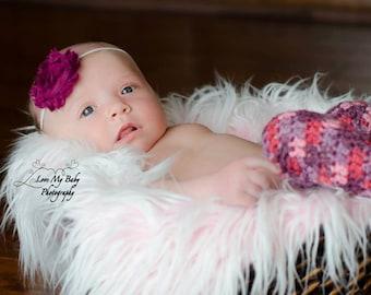 Crocheted Newborn Girls Pink & Purple Leg Warmers Pair Photo Prop READY TO SHIP