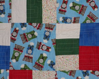 Thomas the Tank Engine Quilt in blue, green, red