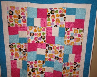 Princess Doll Quilt Pink and Blue