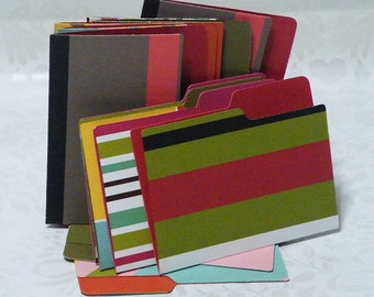 12 Small File Folders Decorative 2 Sided 3 1 X 4