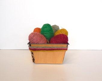 Jute Easter Eggs in Vintage Wooden Basket
