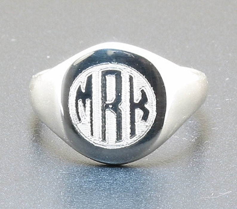 Size 6 Three Letter Circle Monogram Engraved Signet Ring Sterling Silver 7 8