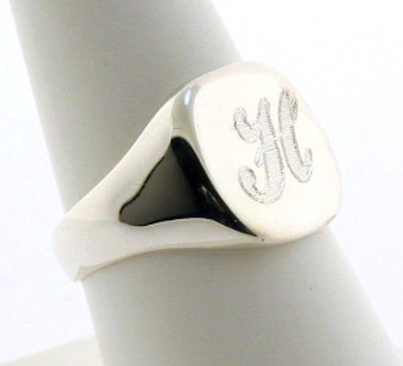 925 Sterling Silver Uni-Sex 13MM Initial Monogram Engraved Signet Ring Size 8