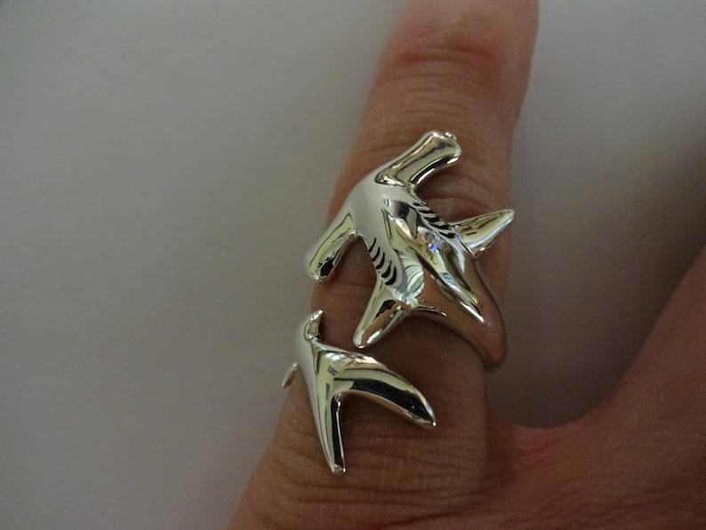 Small HAMMERHEAD SHARK RING Sizes 6-10 hammerhead shark hammerhead jewelry shark jewelry adjustable ring